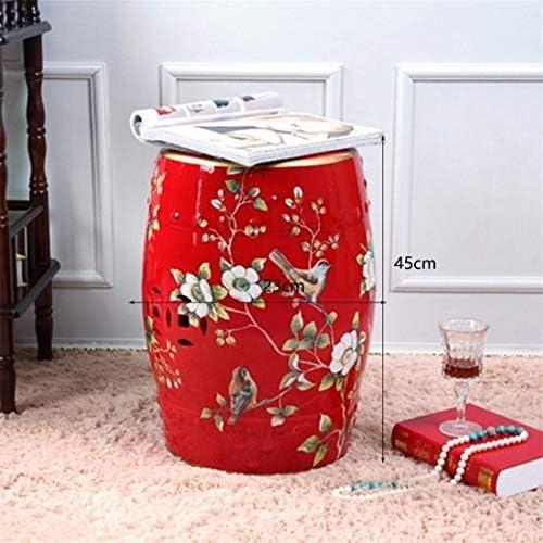Mound Shoe Tabouret, chinoise en céramique tambour Tabouret ronde Fleurs peint à la main et les oiseaux Dressing bancs 118 923 (Size : Red)