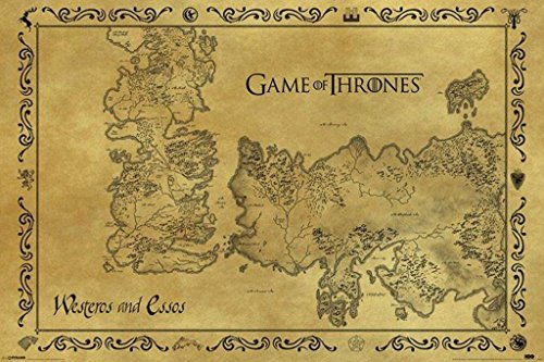 Pyramid America Game of Thrones Antique Map Westeros Essos HBO Medieval Fantasy TV Television Series Cool Huge Large Giant Poster Art 55x39