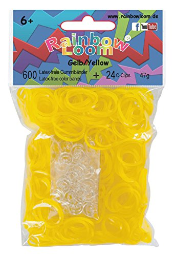 Rainbow Loom Official Yellow Rubber Bands Refill 600 count + 24 C-clips