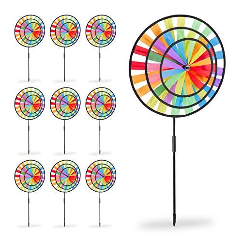Relaxdays Pack 10 Molinillos de Viento Arcoíris para Jardín, Terraza y Niños, Poliéster, Multicolor, 73,5 x 35,5 x 15 cm
