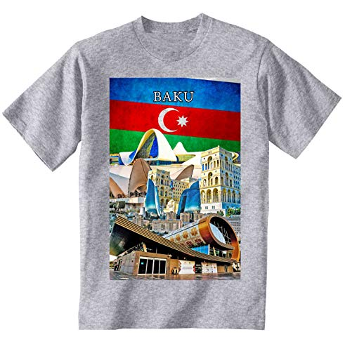 teesquare1st Men's Baku Azerbaijan Souvenir Tshirt mit Aufdruck/Tshirt Grau/Shirt mit Aufdruck Herren/Geschenk Tshirt Herren Size XXLarge
