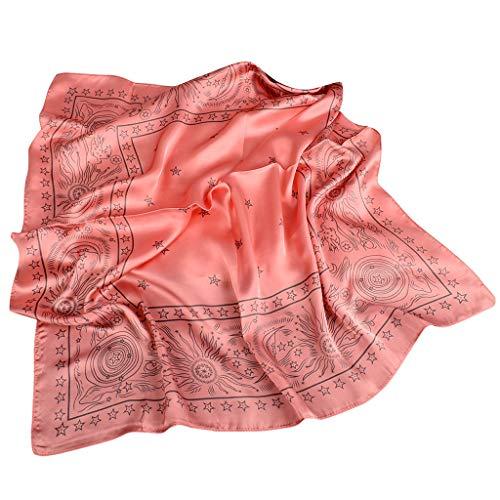 Xniral 70x70CM Bandana Damen Bedruckter Quadratischer Schal Turban Geschäft Arbeit Halstuch(a Wassermelonenrot)