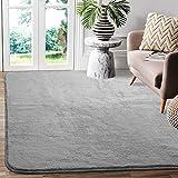 Frabe Alfombras para Sala de Estar, alfombras Suaves para Dormitorio, Alfombrilla Grande para decoración del hogar(Gris,90X160CM)