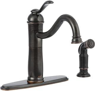 Walden Single-Handle Side Sprayer Kitchen Faucet in Mediterranean Bronze Featuring Microban Protection