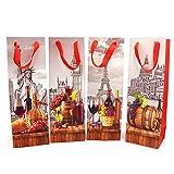 Paquete de 8 bolsas de vino para regalo con etiqueta de regalo y asas, diseño de ciudades, portabotellas, cumpleaños, ocasiones especiales, 39 cm de alto x 12 cm de ancho x 9 cm de profundidad