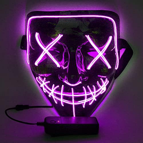 WUJUN Glühende Halloween Maske Lustige Grimasse Cosplay Party Karneval LED Beleuchtung Halloween Maske Draht Licht Dekoration(lila)