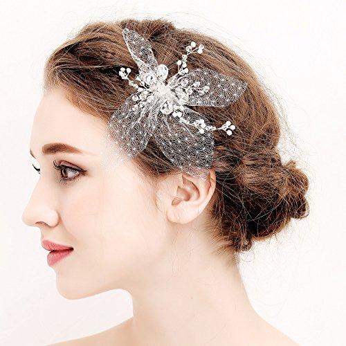 Peigne à cheveux en strass pour mariée - Bandeau de cheveux pour mariage - Barrettes à cheveux - Perles de cristal strass - Perles de mariage - Bandeau de cheveux