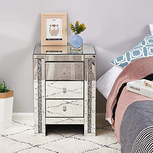 Dakea Nachttisch Spiegelglasschrank mit 3 Schubladen auf Wohnzimmer, Schlafzimmer, Büro, 42 x 32 x 60 cm