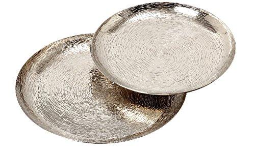 Boltze Deko-Teller Ties Aluminium Silber Ø 42 cm oder Ø 48 cm, Tischdeko, Aufbewahrung (Ø 42 cm)