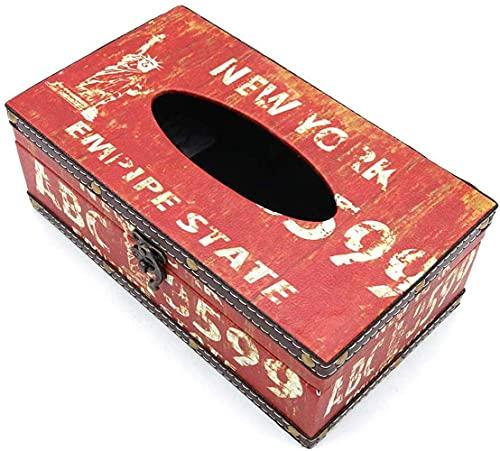 POFET Vintage Chic Boîte À Mouchoirs En Bois Titulaire Rectangle Artisanat Papier De Soie Boîte Couverture Serviette Organisateur Titulaire Décoration De Voiture avec Serrure En Métal - New York