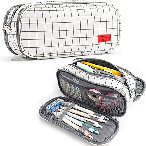 Coalar Estuche de gran capacidad para lápices de nailon, 3 capas, estuche portátil para niños, niñas, estudiantes, escuela, oficina, accesorios, 10,5 x 22,5 x 8 cm, color blanco rejilla