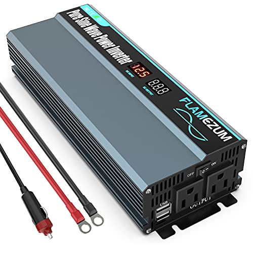 FLAMEZUM 1000W Pure Sine Wave Power Inverter 12V to 120V DC to AC with Remote Control Dual AC Outlets and LED Display & Dual USB Port for CPAP RV Truck Boat Car Solar System Emergency
