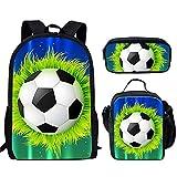 DUIYT Los Bolsos de Escuela de Los Deportes del Adolescente Fijaron,Mochila Escuela Impresión del Fútbol del Bookbag de Las Muchachas de Los Niños