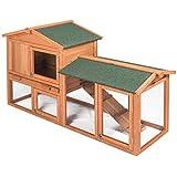 EUGAD Conejera de Exterior Madera Gallineros Casa para Conejos Cobayas Hámster Mascotas Jaula para Conejo Animales Pequeños Impermeable 2 Niveles, 3 Puertas 85x147x53cm Marrón Claro 0002TL