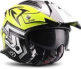 Soxon SR-400 Storm Casco de Moto, Neon, M (57-58cm)