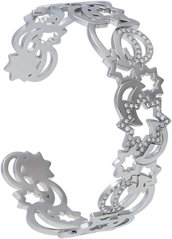 Stroili, bangle, bracciale rigido in acciaio con piccoli dettagli sole e luna arricchiti da strass, per donna 1665932