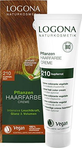 LOGONA Naturkosmetik Pflanzen-Haarfarbe Creme 210 Kupferrot, Rote Natur-Haarfarbe mit Henna, Farbcreme Indian Summer, Dauerhafte Coloration, 150ml