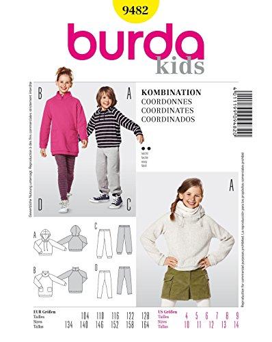 Burda 9482 Schnittmuster Kapuzenshirt Shirtkleid Jogginghose Leggings (kids, Gr. 104 - 164) Level 2 leicht