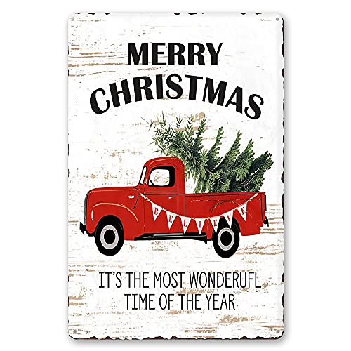 MMOUNT Merry Christmas It's The Most Wonderful TIME of The Year Gifts Christmas Tree Tin Sign Decor Retro 8x12Inch