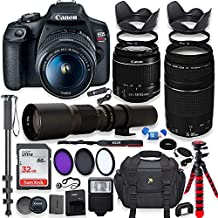 Canon EOS Rebel T7 DSLR Camera with 18-55mm is II Lens Bundle + Canon EF 75-300mm f/4-5.6 III Lens and 500mm Preset Lens + 32GB Memory + Filters + Monopod + Professional Bundle (Renewed)