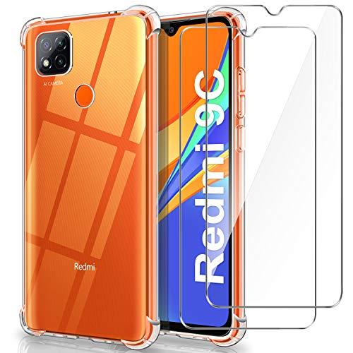 WINmall Cover per Xiaomi Redmi 9C + 2 Pezzi Pellicola in Vetro Temperato, [Rinforzo a Quattro Angoli] Custodia Antiurto Trasparente TPU Silicone Cover per Xiaomi Redmi 9C
