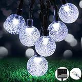 OMERIL Guirnaldas Luces Exterior Solar, 8M Cadena de Luces con 50 LED Bola, 8 Modos y IP65 Impermeable, USB Recargable Luces Navidad Solar para Decoración, Hogar, Jardín, Arboles, Patio, Bodas, Fiesta