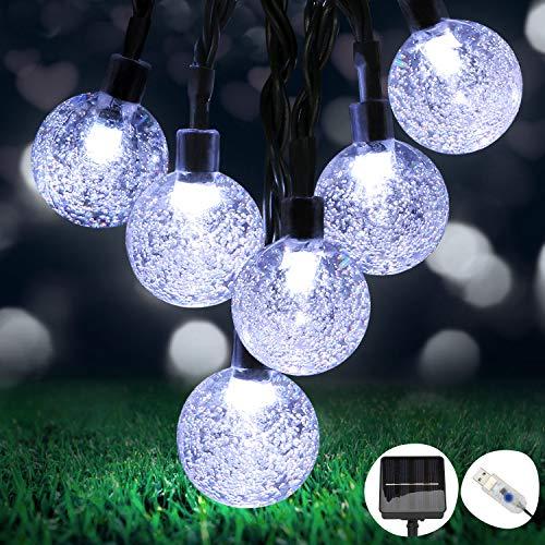 OMERIL Solar Garden Lights,26Ft 50 LEDs Solar Lights Outdoor Garden Waterproof, Dual Solar Powered/USB Powered String Lights for Home,Garden,Patio,Yard,Festoon,Indoor/Outdoor,Cool White