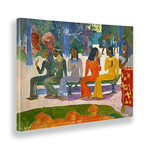 Giallobus - Cuadro - Paul Gauguin - El Mercado (Ta matete) - Lienzo - 100x70 - Listo para Colgar - Cuadros Modernos para el hogar