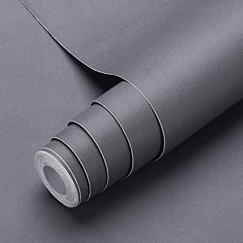 Selbstklebende Klebefolie, 0.61 * 5M dunkelgraue verdickte Küchenschrank Aufkleber Matt Möbelfolie für Möbel Schrank Tische Wand Folie Tapete Dekofolie