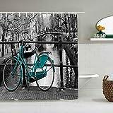 N\A Cortina de Ducha Bicicleta Vintage Foto de Bicicletas Puentes Hojas Árboles Arquitectura Apartamentos en Amsterdam Forros de baño Impermeables Ganchos incluidos - Ideas Decorativas para el baño