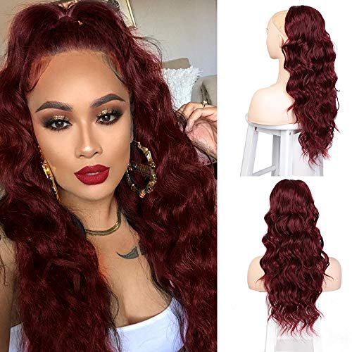 Isaic 24 Inch Wavy Drawstring Ponytail Extension Synthetic Long Ponytail Extension for Women Curly Wavy Ponytail Hair Pieces (Red)