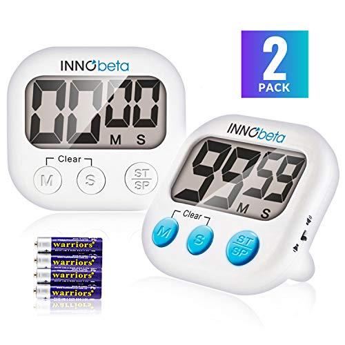InnoBeta 2X Temporizador Digital de Cocina con Cuenta atrás, Electrónico cronómetro y Magnético Temporizador, Fitness Timer convolumen de Alarma Fuerte Ajustable, Base magnética