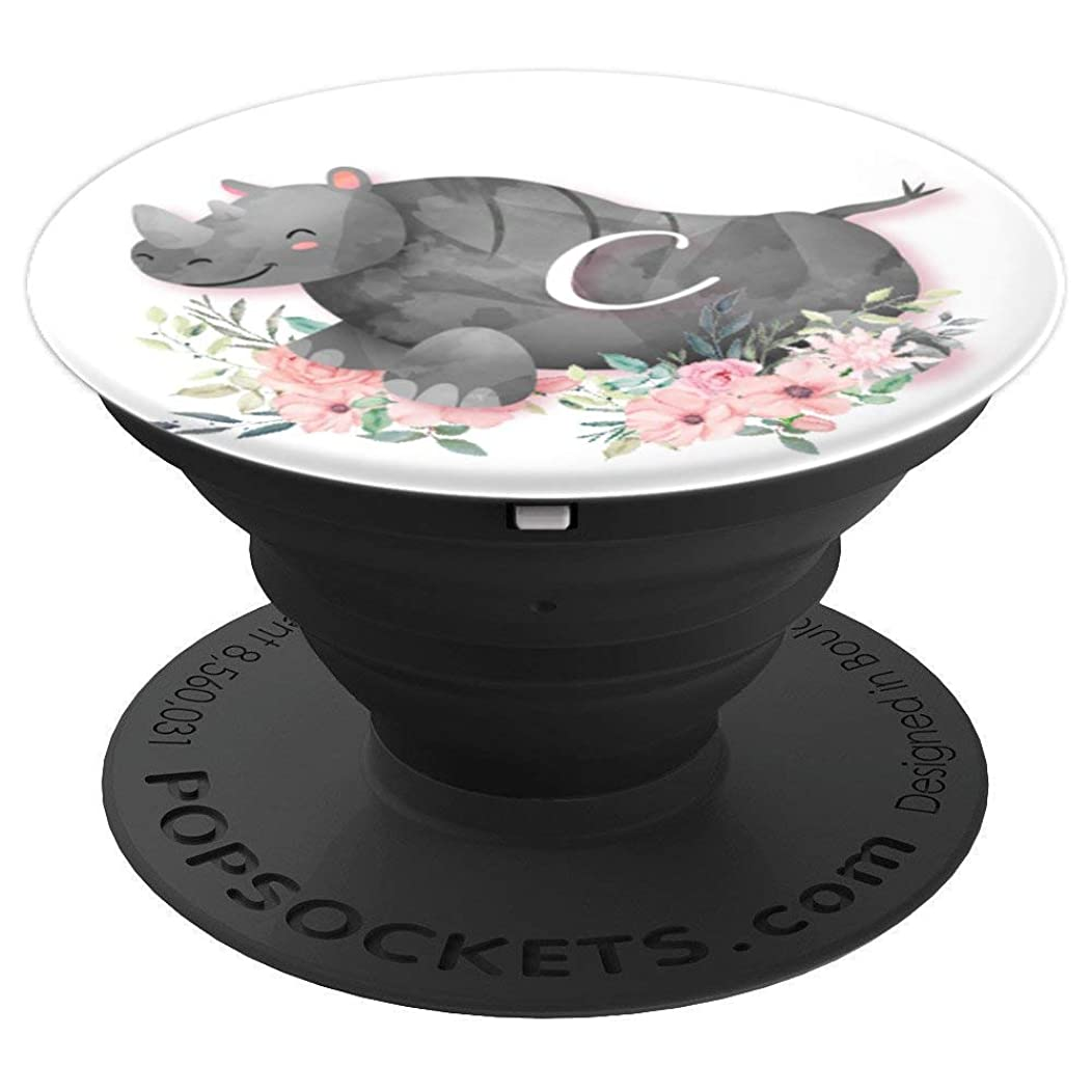 Cute Rhino Pink Flowers Monogram Name Initial Letter C - PopSockets Grip and Stand for Phones and Tablets