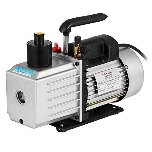 VEVOR Vacuum Pump 8CFM 1HP Two Stage HVAC Rotary Vane Vacuum Pump Wine Degassing Milking Medical Food Processing Air Conditioning Auto AC Refrigerant Vacuum Pump (2-Stage, 8CFM)