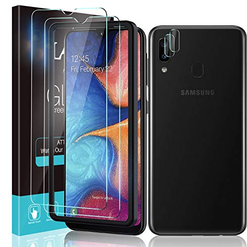 LϟK 4 Pack Protector de Pantalla Compatible con Samsung Galaxy A20e con 2 Pack Cristal Templado y 2 Pack Protector de Lente de Cámara - Sin Burbujas Doble Protección Kit Fácil instalación