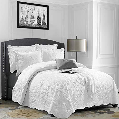 Aspire Homeware Tagesdecke 220x240 cm Steppdecke Bettüberwurf 3 Flicken Bestickt Tagesdecke Weiß Modern Schlafzimmer Deko Atmu`ngsaktive bettüberwurf + 2 Kissenbezüge