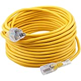 Epicord 12/3 Extension Cord Outdoor Extension Cord (100 ft) Yellow Heavy Duty Extension Cord