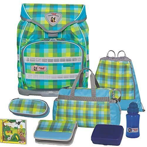 Caro Green - McNeill Fashion Line Ergo Light Trekking Schulranzen-Set 8tlg. mit Sporttasche, BROTDOSE und TRINKFLASCHE mit austauschbarem FLIP-Motiv auf dem Ranzendeckel