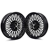 TARAZON 16 x 3.5 Fat Spoke Front Rear Wheels Rims for Harley Touring Bagger Electra Glide,Ultra Classic Electra Glide,Road King, Road Glide 87-99, Softail Fatboy 08-17/ Heritage Classic Deuce