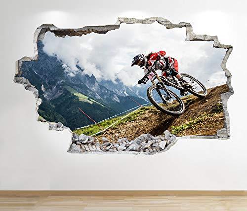 1Stop Graphics Shop Mountainbike Wandaufkleber 3D Optik - Kinder Schlafzimmer Extrem Stunt Wand Abziehbilder Z677 - Large: 70 cm x 111 cm