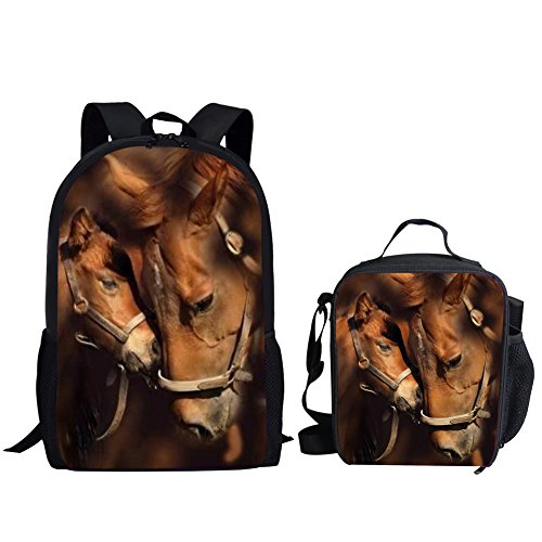 HUGS IDEA 2 Piece Children School Bag Set Horse Cool Backpack Bookbag with Insuleted Lunch Bag