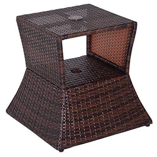 Outsunny Outdoor Patio Rattan Wicker Coffee Table Bistro Side Table w/Umbrella Hole and Storage Space, Brown
