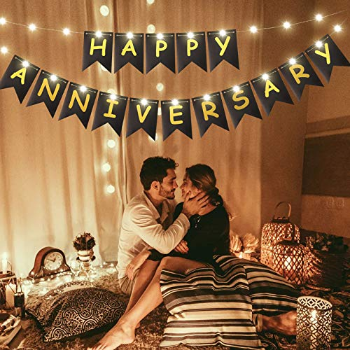 Happy Anniversary Banner Gold Foiled Sign Banner with LED Fairy String Light 8 Flicker Mode, Anniversary Party Decoration Photo Props for Anniversary Wedding Party Ceremony Decoration (Black)