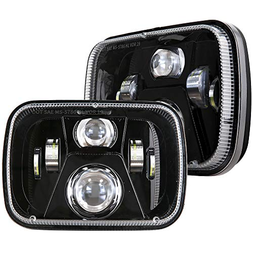DOT 110W 5x7 Led Headlights H6054 7x6 Inch Led Sealed Beam Headlamp with High Low Beam Compatible with Jeep Cherokee XJ Comanche MJ YJ GMC Savana Safari Ford Replacement H5054 6052 6053 Black-2 Pcs