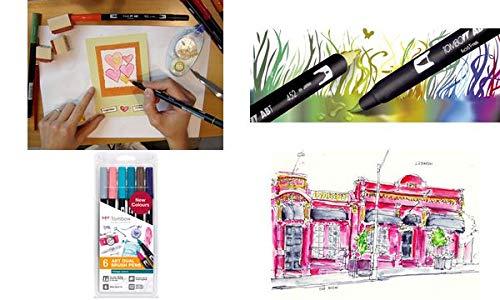 Tombow - Pennarello a doppia fibra/dual brush Pen ABT, set da 6 pezzi, stile vintage, 1 confezione, contenuto della confezione: 6 pezzi