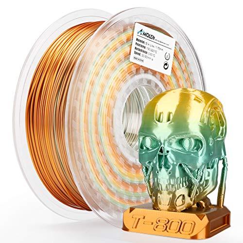 AMOLEN Impresora 3D PLA Filamento 1.75mm, Rainbow Copper Multicolor Seda 1KG, 0.03mm Silk Copper Rainbow Multicolor Materiales de impresión 3D