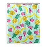 MyDaily Banane Ananas Erdbeere Vorhang für die Dusche 152,4x 182,9cm, schimmelresistent und Wasserdicht Polyester Dekoration Badezimmer Vorhang