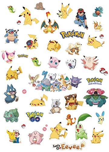 Kibi 6PCS Pokemon Aufkleber | Pikachu Wandtattoo für Kinder Wandtattoo Pokémon Pikachu Wandsticker Wandaufkleber Wanddeko für Kinderzimmer Babyzimmer