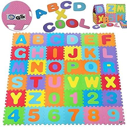 Deuba Alfombra Puzzle de 36 esteras Piezas Letras y números Alfombrilla de Juego infantíl en gomaespuma Impermeable