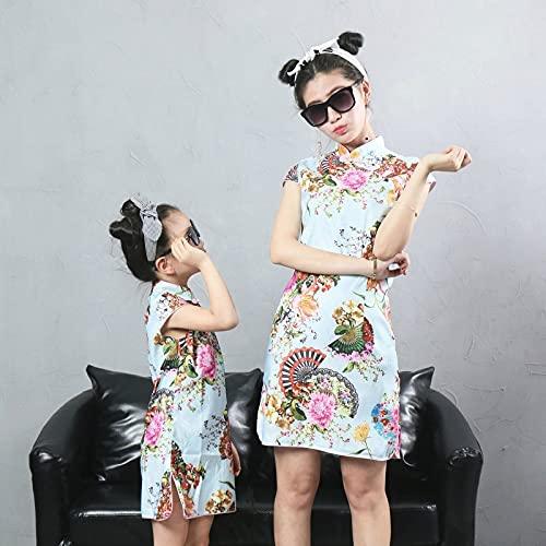 YUANYIRAN Cheongsam Mom and Daughter Dresses - Flores De Abanico Plegables Que...